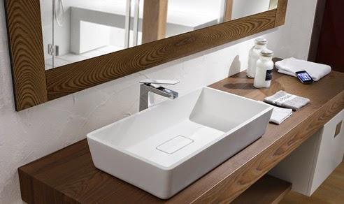 decoracion de baños en madera líneas rectas