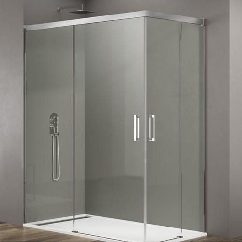 mampara de ducha de cristal con puerta corredera