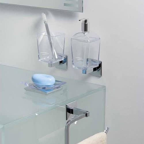 dosificador accesorio de bano transparente cristal