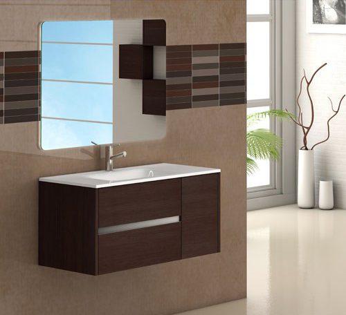 mueble de baño de madera oscuro