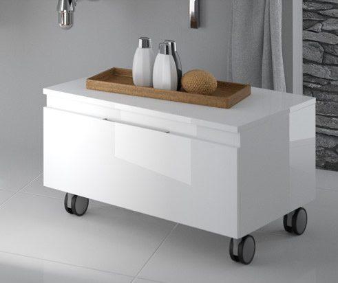 mueble auxiliar de baño blanco acabado mate con ruedas