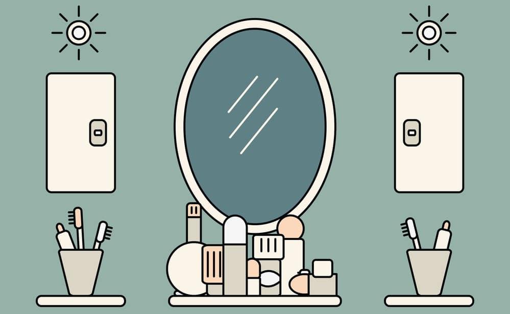 Accesorios de baño en un cuarto de baño