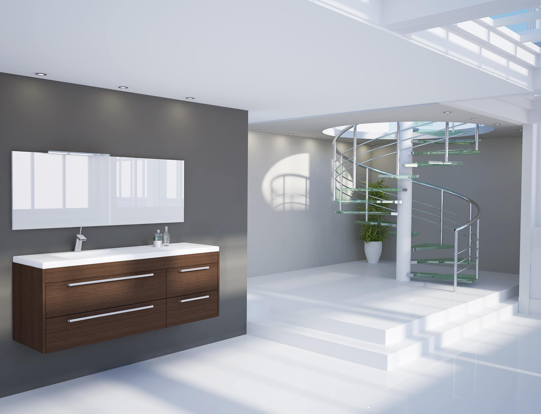 Imagen de un cuarto de baño moderno pintado en tonos blanco y gris muy amplio y luminoso