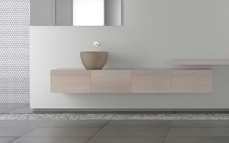 crear distintos ambientes en el cuarto de baño con el lavabo y el suelo distinto