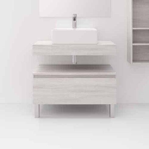 Mueble auxiliar de baño ELEMAD roble Blanco