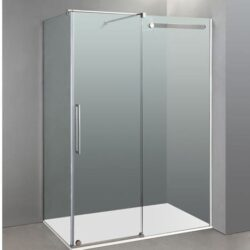 Mampara de ducha en acero inox con lateral fijo