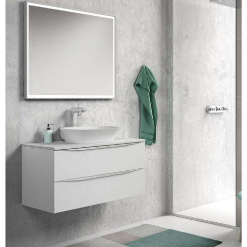 Mueble de baño landes blanco sobre encimera