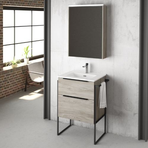 Mueble de Baño estilo industrial Roble Gris Galsaky