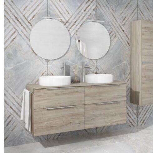 Mueble baño Galsaky 120cm roble gris
