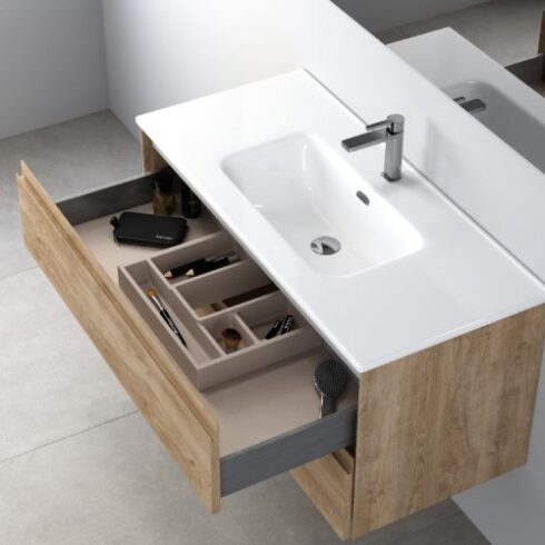 Armario de baño Praga100 cajones abiertos