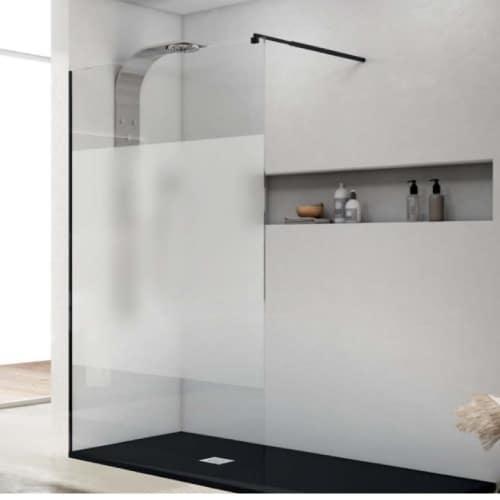 Mampara de ducha con perfilería negra RIMINI