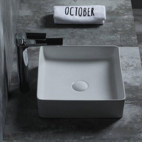 lavabo sobre encimera cuadrado