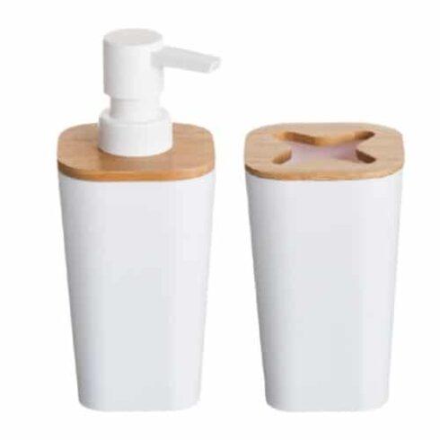 dosificador de baño y vaso