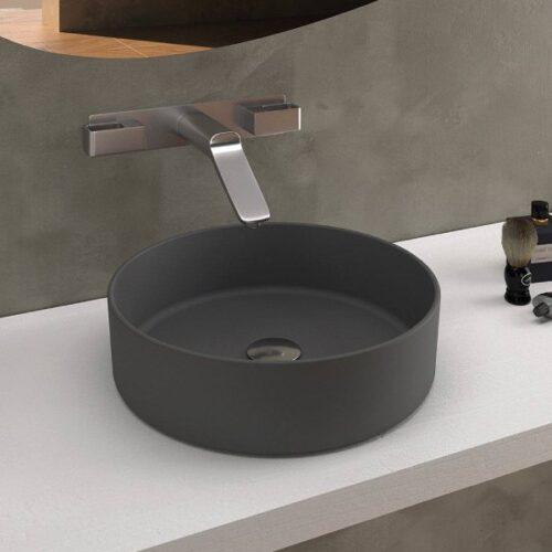 lavabo sobre encimera gris