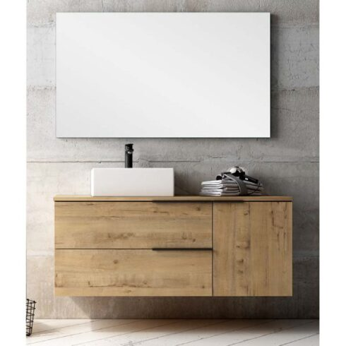 mueble con lavabo sobre encimera black capri